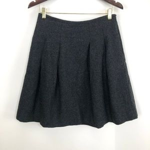 Madewell Wool Blend Pleated A Line Skirt Gray Sz 8